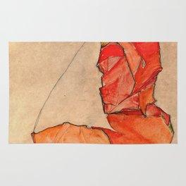 Egon Schiele - Kneeling Female In Orange Red Dress Rug