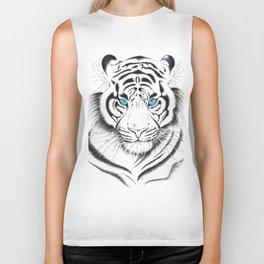 White Bengal tiger Blue Eyes Ink Art Biker Tank
