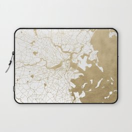 Boston White and Gold Map Laptop Sleeve