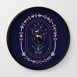 She Believed – Blush & Denim Palette Wall Clock