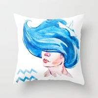 aquarius Throw Pillows featuring Aquarius by Aloke Design