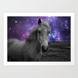 Horse Rides & Galaxy skies muted Art Print