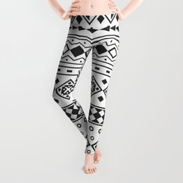 Seamless Ethnic Pattern in black and white color Leggings
