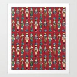 The Nutcracker Prince Pattern Red Art Print