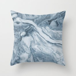 Cipollino Azzurro blue marble Throw Pillow