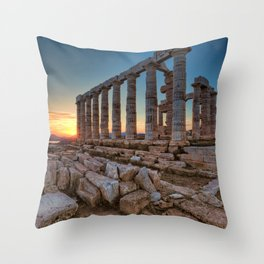 The sunset at temple of Poseidon in Sounio, Greece Throw Pillow