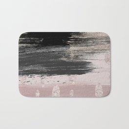 Abstract blush pink black gray gold glitter brushstrokes Bath Mat