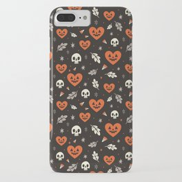 I Heart Halloween Pattern (Black) iPhone Case