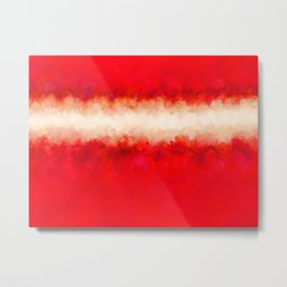 Bright Ruby Red & Cream Abstract Metal Print