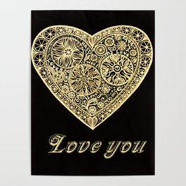 golden heart I love you Poster