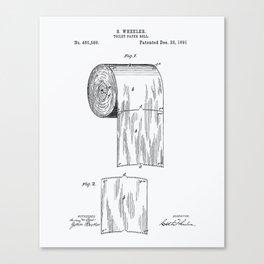 Toilet Paper Roll 1891 Patent Art Illustration Whitepaper Canvas Print