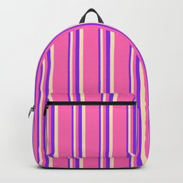 Purple, Bisque, and Hot Pink Colored Stripes Pattern Backpack