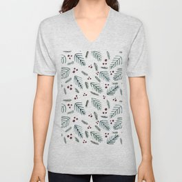 Christmas tree branches and berries - teal and burgundy Unisex V-Neck