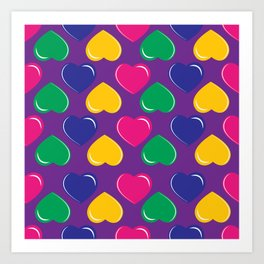 pattern with colorful hearts on purple background Art Print