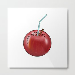 red Apple and a cocktail straw Metal Print
