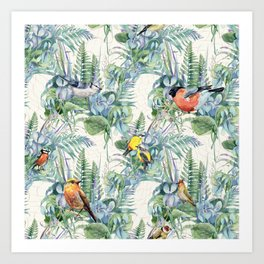 Vintage Style Birds Pattern.Green Flowers and Leaves Pattern, Print. Art Print