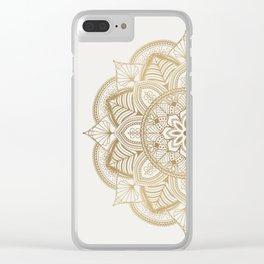 Mandala Beige Creamy Pattern 1 Clear iPhone Case