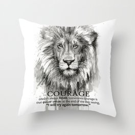 Lion Courage Motivational Quote Watercolor Painting Throw Pillow