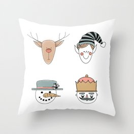 Santa's Squad Throw Pillow