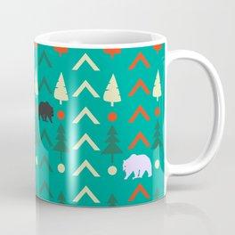 Winter bear pattern in green Coffee Mug