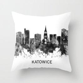 Katowice Poland Skyline BW Throw Pillow