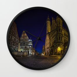 Wallpaper Bavaria Germany Rothenburg Roads Street night time Cities Building Night Houses Wall Clock