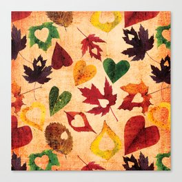 Happy autumn - hearts and leaves pattern Canvas Print