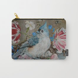 Blue Titmouse and Bee with floral still life Carry-All Pouch