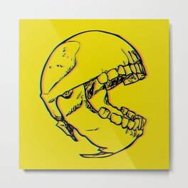 Anaglyphic Skull of Pacman Metal Print