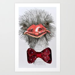 Ostrich with red bowtie Art Print