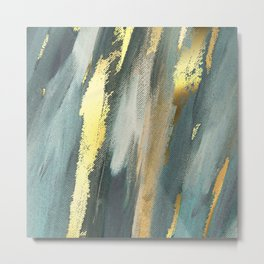 Blue Paint Gold Brushstrokes Abstract Texture Metal Print