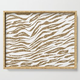 White & Glitter Animal Print Pattern Serving Tray