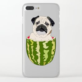Pug Watermelon Clear iPhone Case