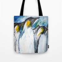 penguins Tote Bags featuring Penguins by James Peart