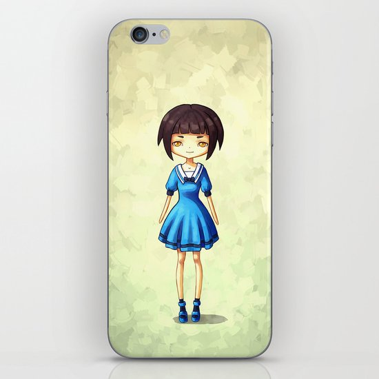 Girl in Blue iPhone & iPod Skin