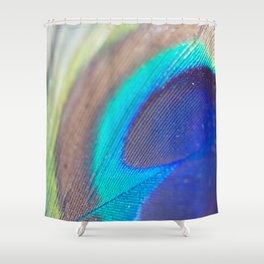 Peacock feather - Macro Photography Shower Curtain