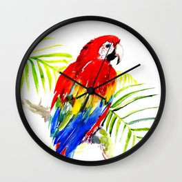 Scarlet Macaw, tropical bird, jungle Wall Clock