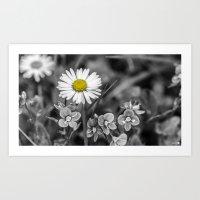 Black and White and Yellow Art Print