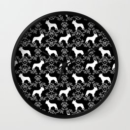 French Bulldog floral minimal black and white pet silhouette frenchie pattern Wall Clock