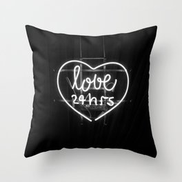 Love 24 Hours (Black and White) Throw Pillow