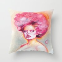 math Throw Pillows featuring Red Math by Esther Munoz