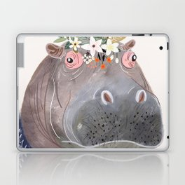Hippo with flowers on head Laptop & iPad Skin