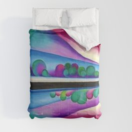 Lake George Reflection landscape painting by Georgia O'Keeffe Comforters