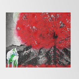 TREE RED WOLF Throw Blanket