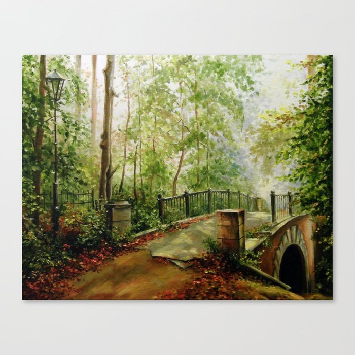 Old bridge in the forest Canvas Print