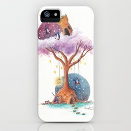 Penguins and Their Dream Tree with Castle Above and Igloo Below iPhone Case