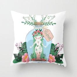 Miss Printemps Throw Pillow
