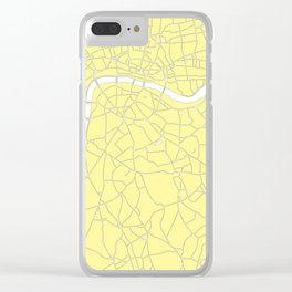 London Yellow on White Street Map Clear iPhone Case