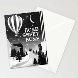 Hot Air Balloon Home Sweet Home snowy little town night stars and moon home decor Christmas spirit Stationery Cards