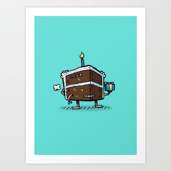 Birthday Cake Bot Art Print